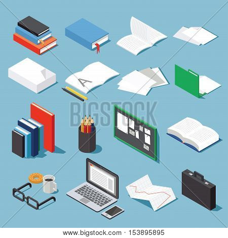 Isometric office tools set: paper books folder pen and pencil glasses laptop case diagram open book and notebook and board. Collection for your business/education info graphic or illustration.