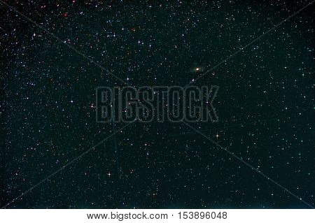 Starfield with Perseus Andromeda Galaxy Milky Way and Falling Stars