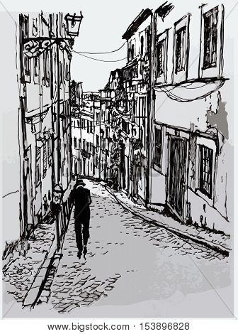 Typical street in Lisbon - vector illustration