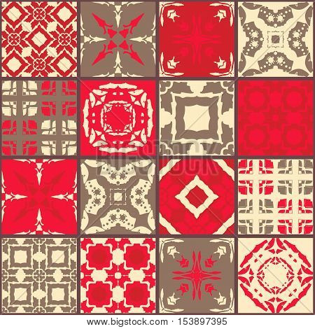 Moroccan ceramic tiles. Cute patchwork pattern. Vector illustration. Pillowcase.