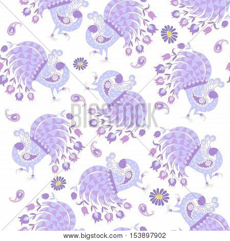 Blue bird of Happiness and daisy. Cute seamless pattern on white background. Year of the Rooster. 2017. Vector illustration. Peacock picture.