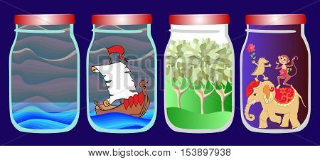Save the memories of voyage. Vector allegorical illustration with sea, ship, forest and tropical animals in jar.