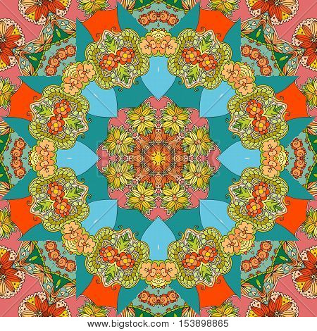 Festival ethnic kaleidoscopic pattern.  Vector illustration. Bright bandana print. Pillowcase. Lovely tablecloth.