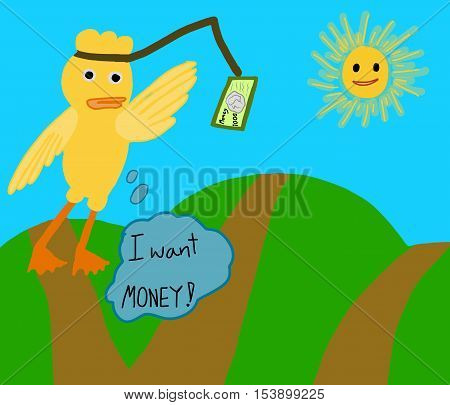 vector concept ; cartoon poor yellow duck become poverty-stricken try to grabbing some money and think