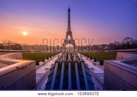 Stunning view of the beautiful Eiffel Tower at sunrise from Place du Trocadéro in Paris France