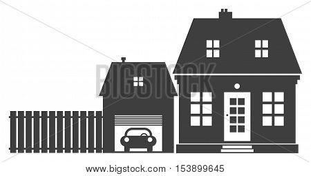 Home and garage sign or symbol, vector illustration