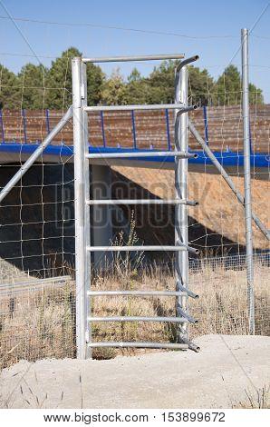 Frontal view of one-way deer gate. Picture taken in A-15 motorway Soria Spain