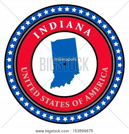 Label with name and map of Indiana, vector illustration