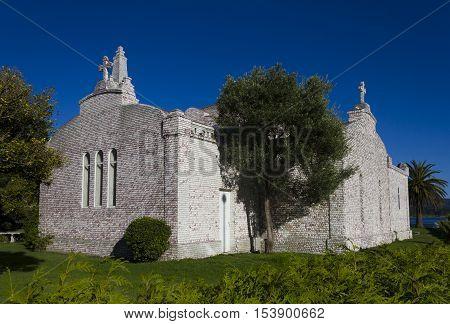 Chapel of the shells The Toja island Ria de Arosa Pontevedra province Galicia Spain