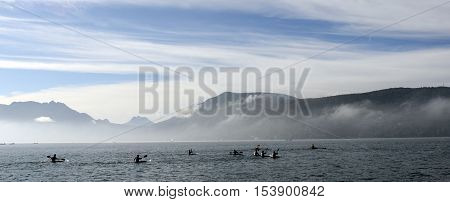 Kayakers On Kayak And Canoe Doing The Race On Annecy Lake