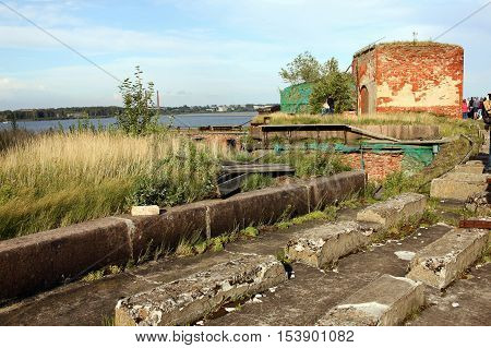 Kronstadt Russia - 10 July 2016: Tourists on the roof of the naval fort Alexander I or Plague Fort. In 1899-1917 the fort housed a research laboratory on plague and other bacterial diseases.