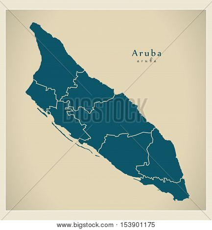 Modern Map - Aruba with regions AW vector
