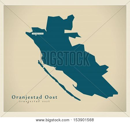 Modern Map - Oranjestad Oost AW Aruba vector