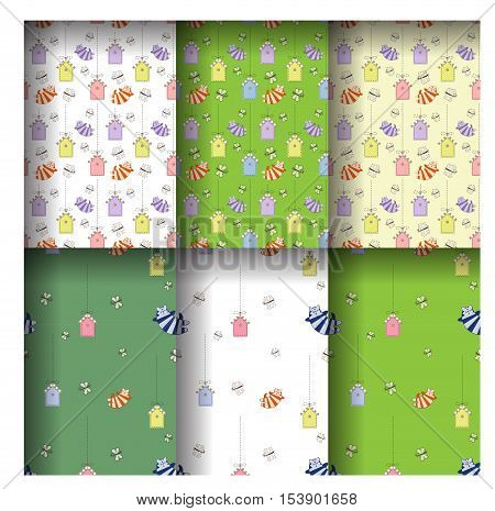 Cute seamless pattern of cartoonish funny cats butterfly and birds houses. Vector illustration. Grouped for easy editing.