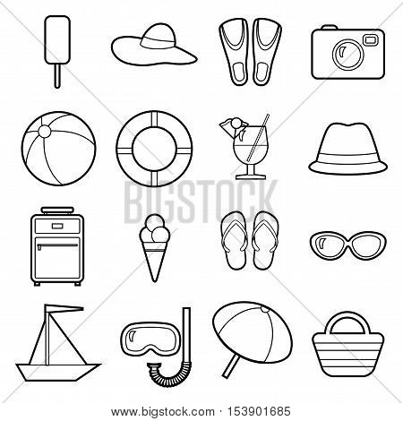 Set of icons. Beach theme. Black and white flat travel objects. Umbrella ball beach wallet cocktail diving mask tube lifebuoy shale suitcase camera hat boat fins goggles popsicle ice cream beach bag collection.