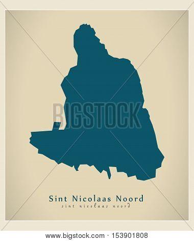 Modern Map - Sint Nicolaas Noord AW Aruba vector