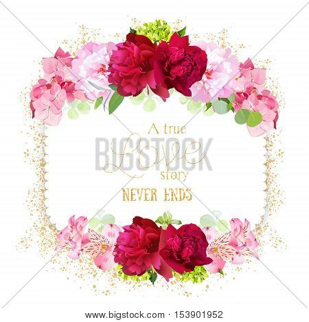 Square floral vector frame with bugrundy and pink peonies hydrangea on white. Elegant card with flowers and golden glitter. Simple backdrop with shining confetti. All elements are isolated.