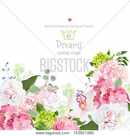 Pink and green hydrangea rose white peony orchid carnation vector design card. Botanical style frame with mixed flowers on white. Elegant floral background. All elements are isolated and editable.