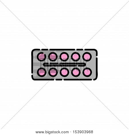 Allergy flat icon. Disease state, watering, allergy tablets, the appearance of red spots and other. Vector illustration EPS 10