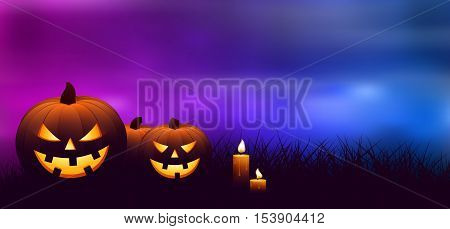 Halloween pumpkins with candles in a spooky forest at night.
