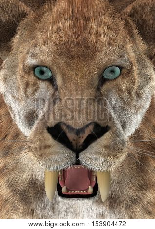 3D rendering of a head of a saber-toothed tiger or smilodon closeup