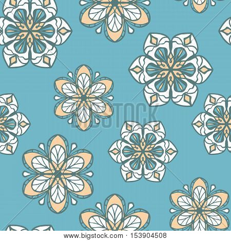 Seamless pattern with stylized flowers on turquoise background. Wallpaper with ethnic motifs. White and yellow retro backdrop