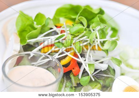 vegetable salad with thousand Island dressing dish