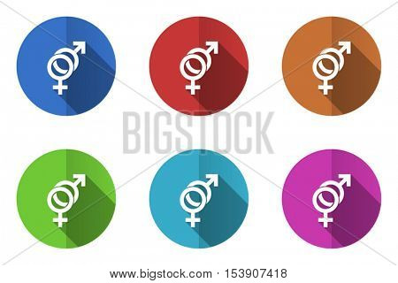 Flat design vector trans gender icons. Web and app buttons.