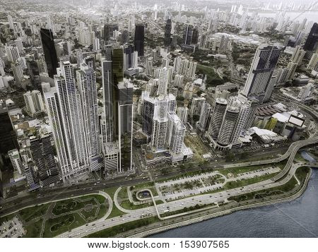 Aerial view of the skyscrapers at Panama City, Panama