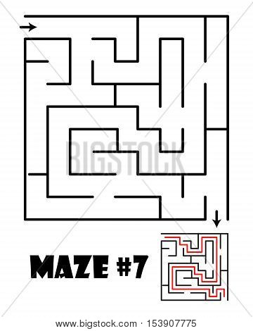Labyrinth or maze conundrum for kids with answer. Children funny puzzle game. Entry and exit. Vector illustration isolated on a light background.