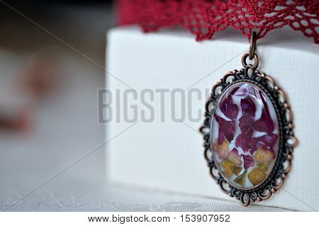 Handmade Choker Necklace From Lace And Pendant With Natural Flowers