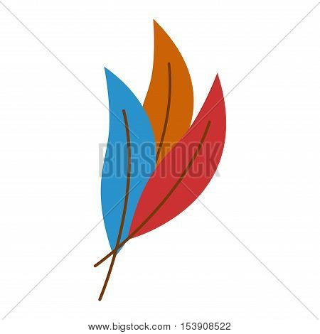 Hand drawn stylized feather color color ornamental. Feather isolated icon nature bird. Decorative color feather flat art graphic vector.
