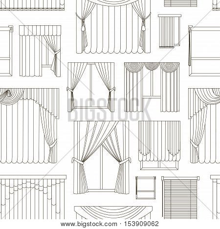 Collection of Different curtains and blinds for interior design pattern - classic, horizontal and vertical blinds, Roman, draped, tulle.
