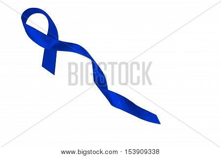Dark blue ribbon awareness. Symbolic concept of concern awareness campaign to help people living W/ the disease is cancer of the rectum. Dark blue ribbon isolated on white background.
