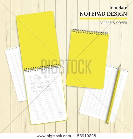 Set of notebook cover, papers and pencil on wood background. Vector template for design work.