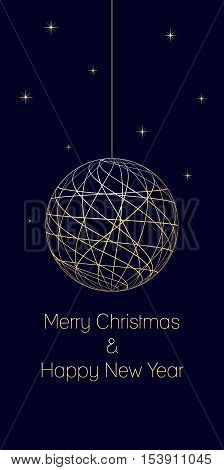 christmas and new year background with text Merry Christmas and Happy New Year on dark blue background very soft gold colored elements christmas ball and stars isolated illustration
