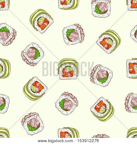 Vector seamless pattern sushi dragon and hamachi rolls, color