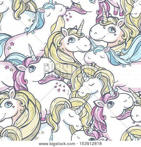 Seamless vector pattern with cute magic unicorns.