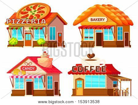 Isolated coffee bakery pizzeria and candy shop colorful storefronts with windows tents and decorative roof vector illustration