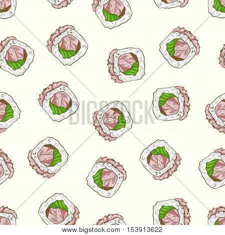 Vector seamless pattern sushi hamachi rolls, color