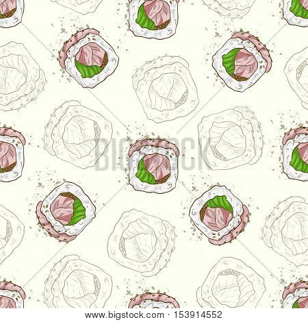 Vector seamless pattern sushi hamachi rolls, color and sketch