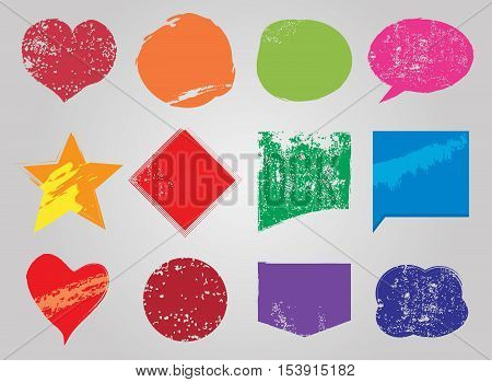 Rusty grunge colorful words bubbles, Vector illustration, set of words bubbles in trendy grunge style.