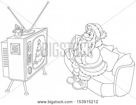 Santa Claus sitting on the sofa and watching his old wood TV set