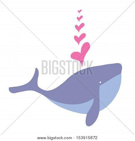 Cartoon whale cute happy mammal and cartoon whale underwater marine wildlife animal. Cetacean comic fin tail cheerful fountain mascot.