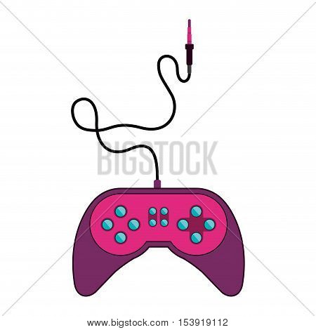 fushia remote control games with jack connector vector illustration