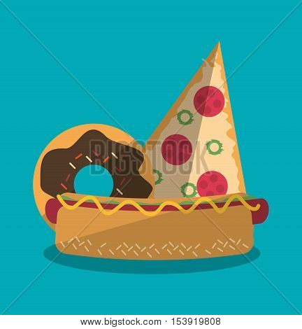 Pizza hot dog and donut icon. Fast food menu restaurant and market theme. Colorful design. Vector illustratio