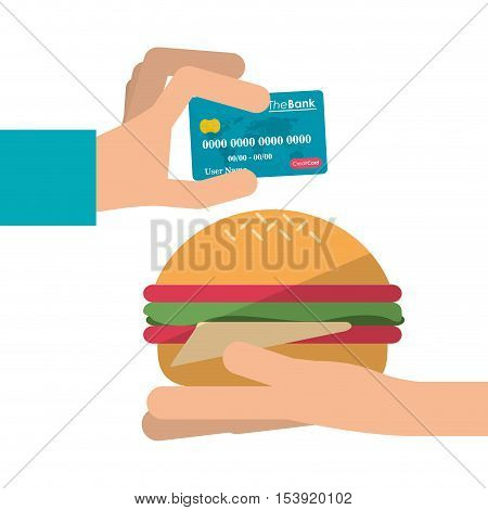 Hamburger and credit card icon. Fast food menu restaurant and market theme. Colorful design. Vector illustratio