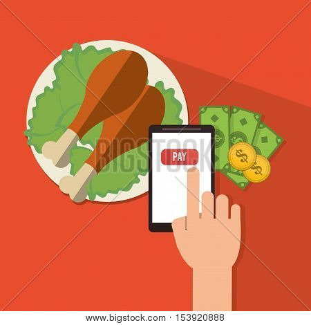 Chicken smartphone and money icon. Fast food menu restaurant and market theme. Colorful design. Vector illustratio
