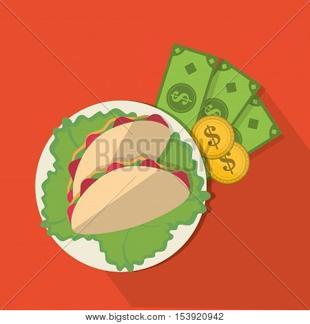 Taco and money icon. Fast food menu restaurant and market theme. Colorful design. Vector illustratio