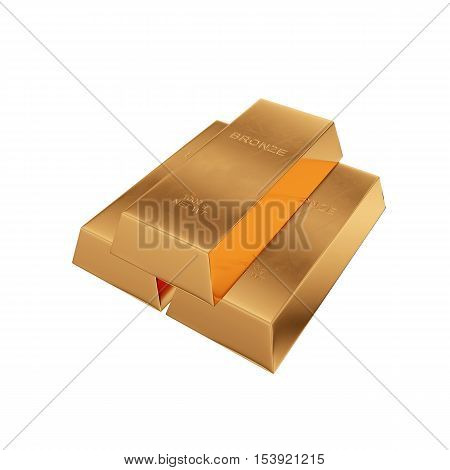 bronze ingot isolated on a white background, 3D rendering
